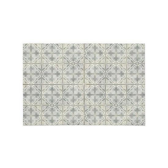 French Vintage Damask Pattern Tile Grey n Cream
