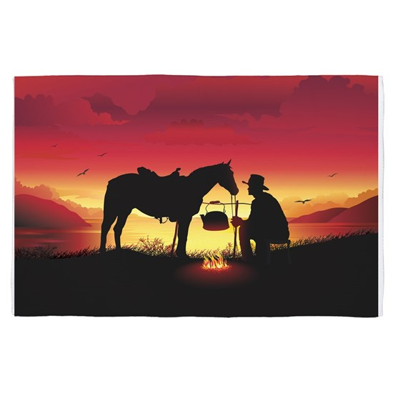 Cowboy and Horse at Sunset