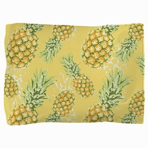 Tropical Pineapple on Pastel Yellow Pillow Sham