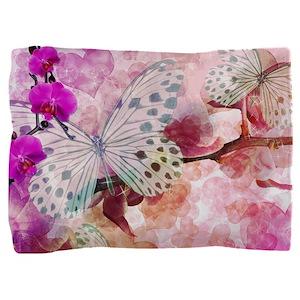 Orchids And Butterflies Pillow Sham