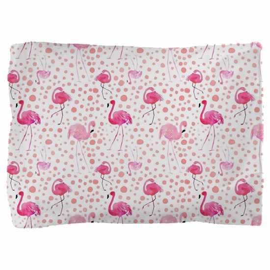 Pink Flamingos and dots pattern