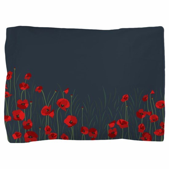 Night  Field of red poppies flower