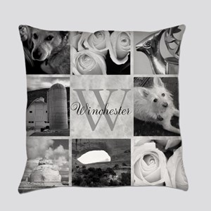 Elegant Photo Block and Monogram Everyday Pillow
