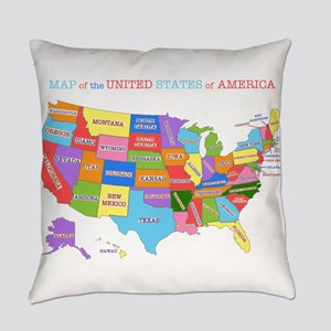 Rainbow Map of the USA Everyday Pillow