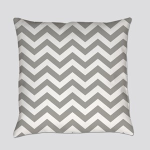 Grey, Fog: Chevron Pattern Everyday Pillow
