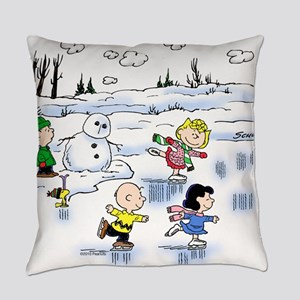 peanut gang snow scene Everyday Pillow