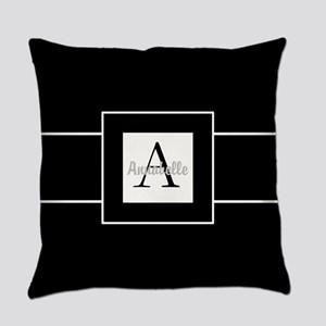 Black White Monogram Personalized Everyday Pillow