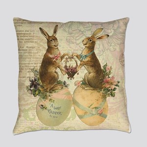 Vintage French Easter bunnies Everyday Pillow