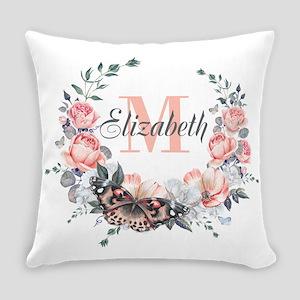 Peach Floral Wreath Monogram Everyday Pillow