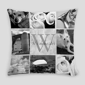 Elegant Photo Block and Monogram Everyday Pillow