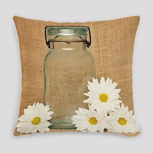 Vintage Mason Jar White Daisies Everyday Pillow