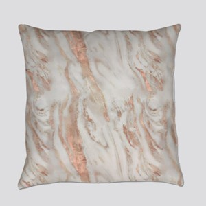Rose Gold Marble Everyday Pillow