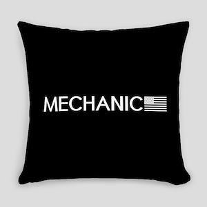 Mechanic: American Flag (White) Everyday Pillow