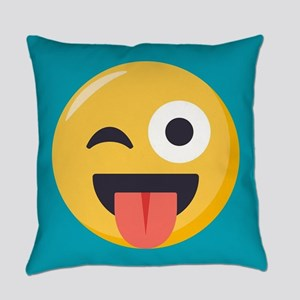 Winky Tongue Emoji Everyday Pillow