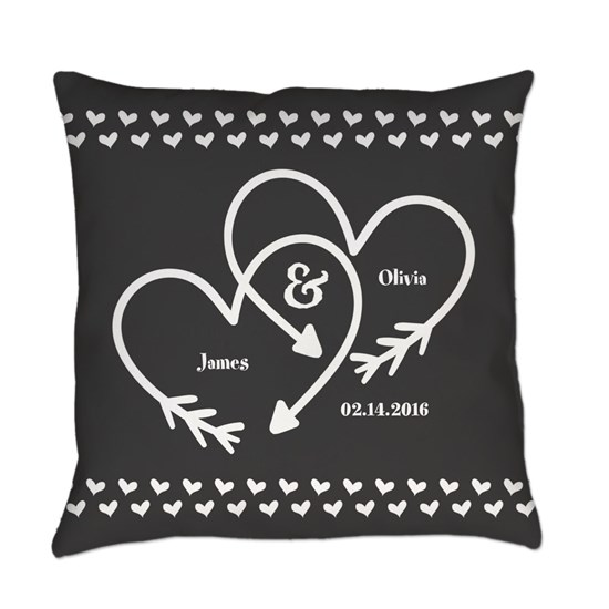Mr. and Mrs. Wedding Customizable Gray Hearts