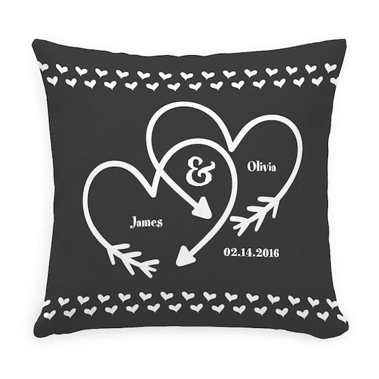 Mr. and Mrs. Wedding Customizable Gray Hearts