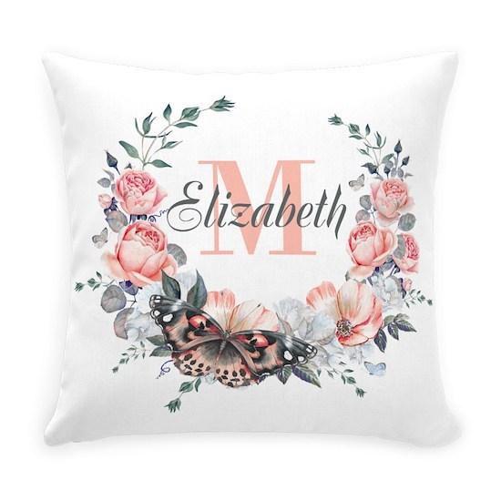 Peach Floral Wreath Monogram