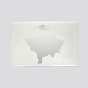Kosovo Map Silver Rectangle Magnet