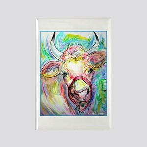 Cow, colorful, art, Rectangle Magnet