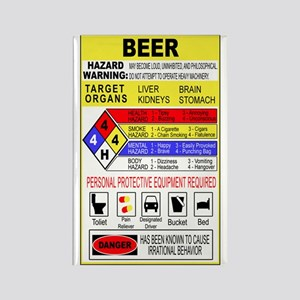 Warning Beer Hazardour Materi Rectangle Magnet