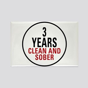 3 Years Clean & Sober Rectangle Magnet