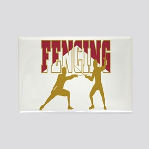 Fencing Logo (Red & Gold) Rectangle Magnet