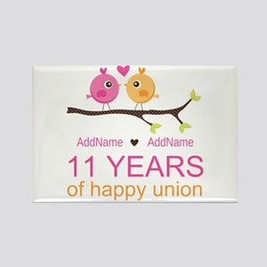 11th Anniversary Personalized Rectangle Magnet