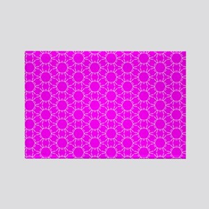Fuchsia Pink Floral Doodle Patter Rectangle Magnet