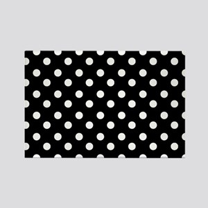 black and white polka dots patter Rectangle Magnet