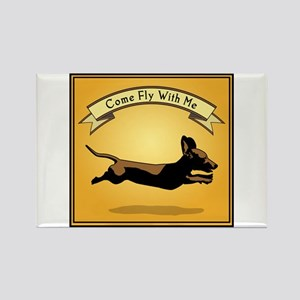 Flying Wiener Dog Rectangle Magnet