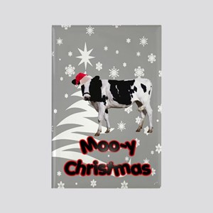 Moo Cow Christmas Rectangle Magnet