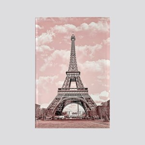 Eiffel Tower in pink Rectangle Magnet