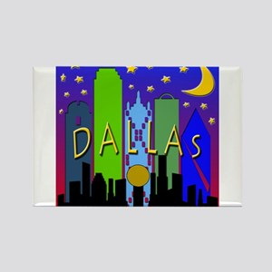 Dallas Skyline nightlife Rectangle Magnet