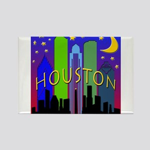 Houston Skyline nightlife Rectangle Magnet