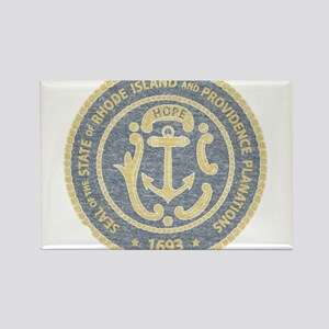 Vintage Rhode Island Seal Rectangle Magnet