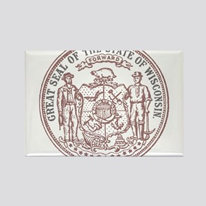 Vintage Wisconsin State Seal Rectangle Magnet