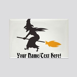 Custom Personalized Halloween Witch Broom Magnets