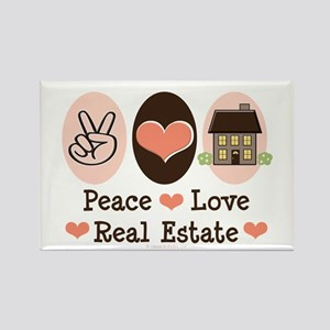 Peace Love Real Estate Agent Rectangle Magnet