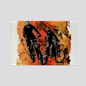 Dirt Bike Duo in Red Orange and Black Mud Magnets