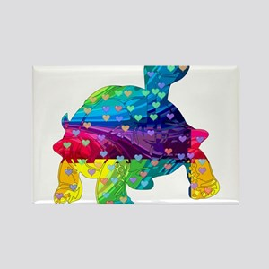Rainbow Turtle With Multicolored Hearts Magnets