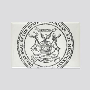 Vintage Michigan State Seal Rectangle Magnet