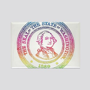 Vintage Washington Rainbow Rectangle Magnet