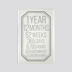 1 Year (Gray Chevron) Rectangle Magnet