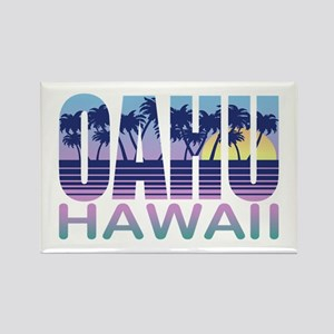 Oahu Hawaii Rectangle Magnet