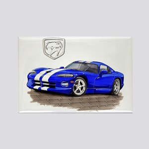 Viper Blue/White Car Rectangle Magnet