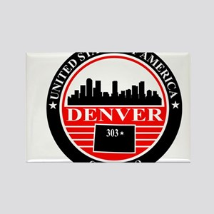 Denver logo black and red Rectangle Magnet