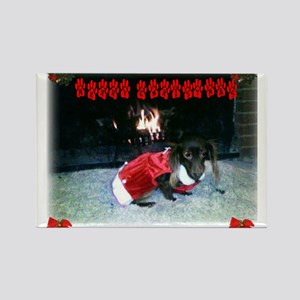 Christmas Dachsie (chocolate/tan long hair) Magnet
