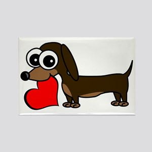 Cute Dachshund with Heart Magnets