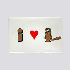 """I Love Beaver!"" Rectangle Magnet"