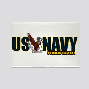 Navy Sister Rectangle Magnet